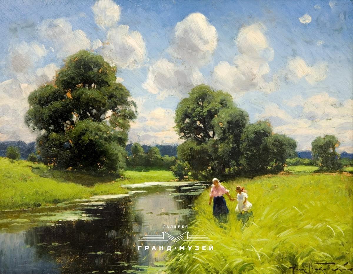 Пейзаж с фигурами у реки