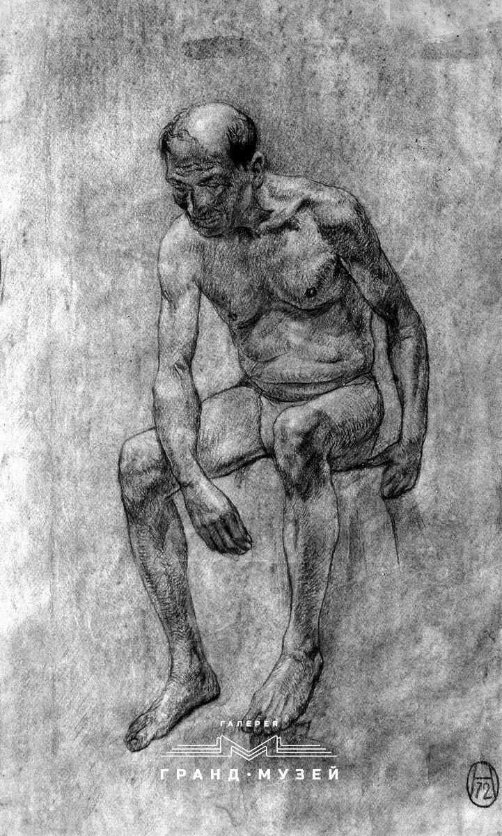 Сидячая обнаженная мужская фигура